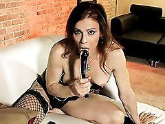 TMILF Jasmine toying in tempting net stockings