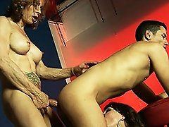Transsexual mistress Jasmine banging her slaves