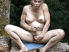Horny TMILF Jasmine Jewels pleasuring herself in the woods