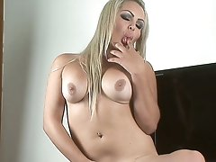 A Platinum blonde with Nice tits strokes her hard tool