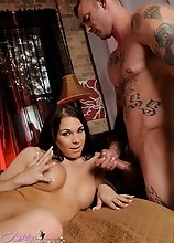 Horny tgirl Ashley George riding a huge fat dick
