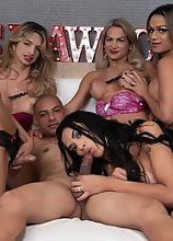 TS Stars: 5 Tgirl 1 Guy Creampie Gangbang Train