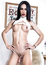Thai ladyboy Nadia is 20 years old and she has an amazing slim body, long legs and a perfect ass! Watch her posing and stroking her cock!