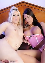 Transsexual sweethearts Ashley & Chrissy having oral