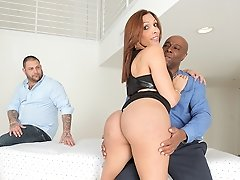 Watch the sexy transsexual Cindy Ramirez take some black cock!