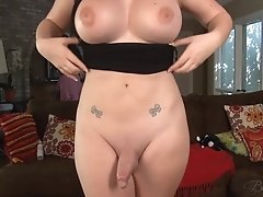 Join Bailey as she pumps her long thick tgirl stick in the living room until you both cum together!