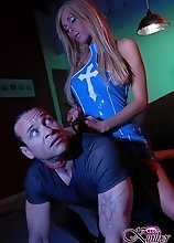 Beautiful TS Kimber James interrogating a guy rough