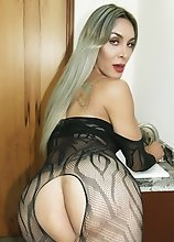 TASTIEST TRANNY ever! You will love this blonde hottie in lace bodysuit