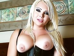 BLonde Slut with Nice Tits and Cock stroking in a Corset
