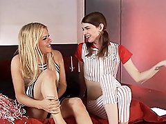 Two hot shemale babes pleasuring each other