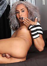 Gorgeous Sasha Ivy got into the halloween spirit in this scene! See this spooky tgirl stroking her big hard cock!
