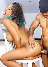 Gorgeous Kylee has a stunning sexy body, big boobs with pierced nipples, a sexy round butt and a rock hard cock! Watch this beautiful black tgirl givi