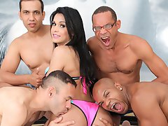 Watch the beautiful TS Bruna Butterfly take her first gangbang!